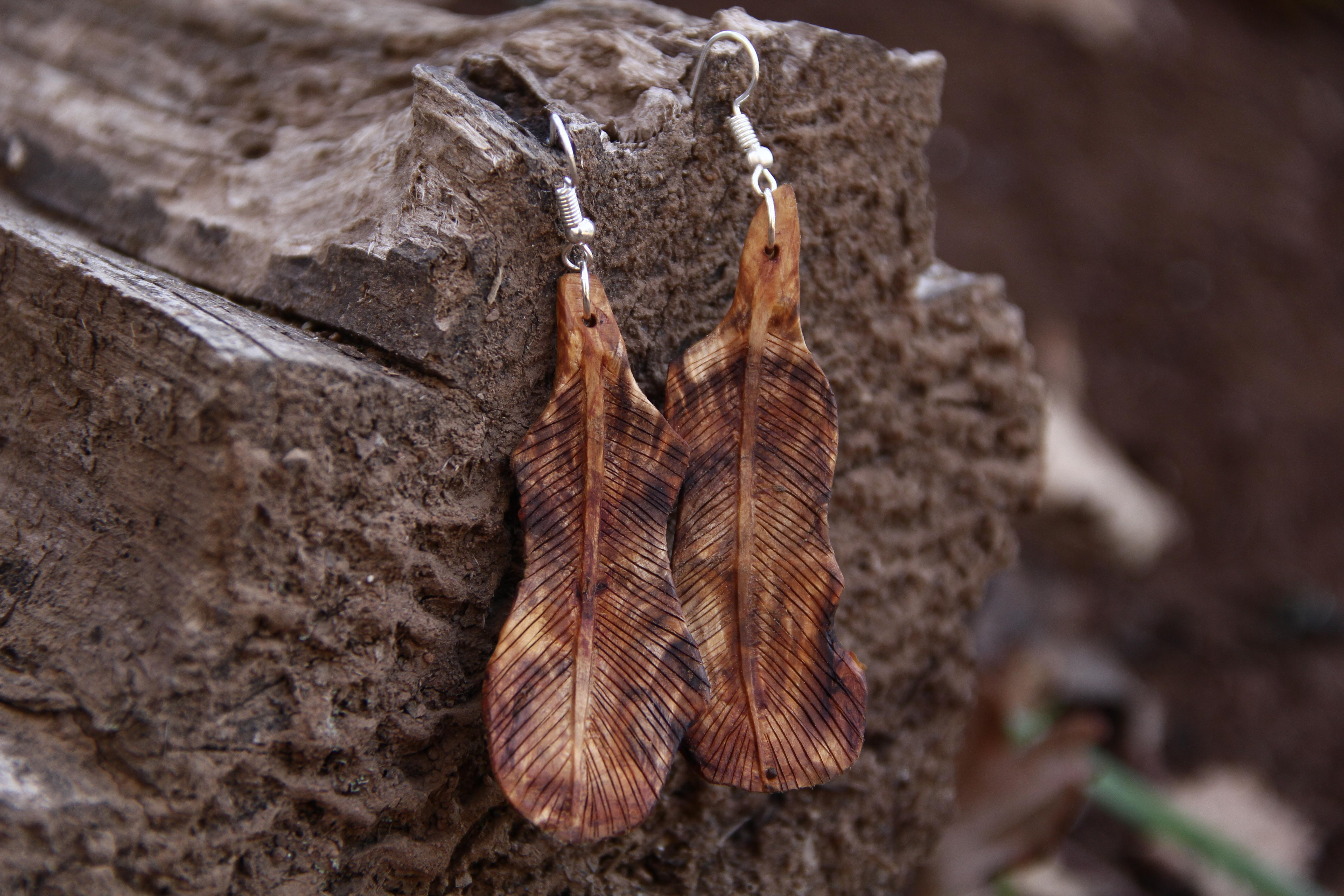 Baumperlenfeder Ohrringe